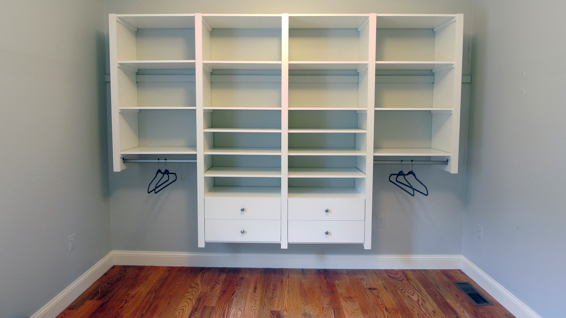 white victory closet shelving and drawers