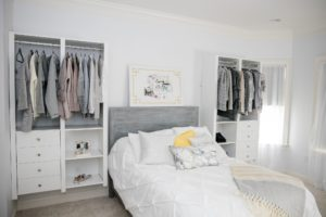 crisp and clean white bedroom and closets, spring shopping