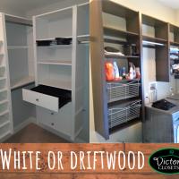 white or driftwood shelving