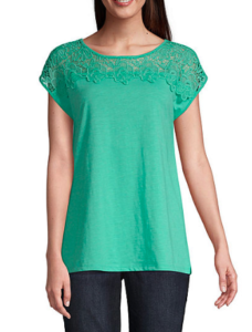 jc penny mint green tee, spring shopping